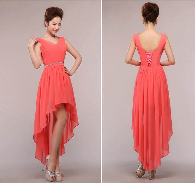 Sexy V Neck Bridesmaid Dresses Front Short Back Long