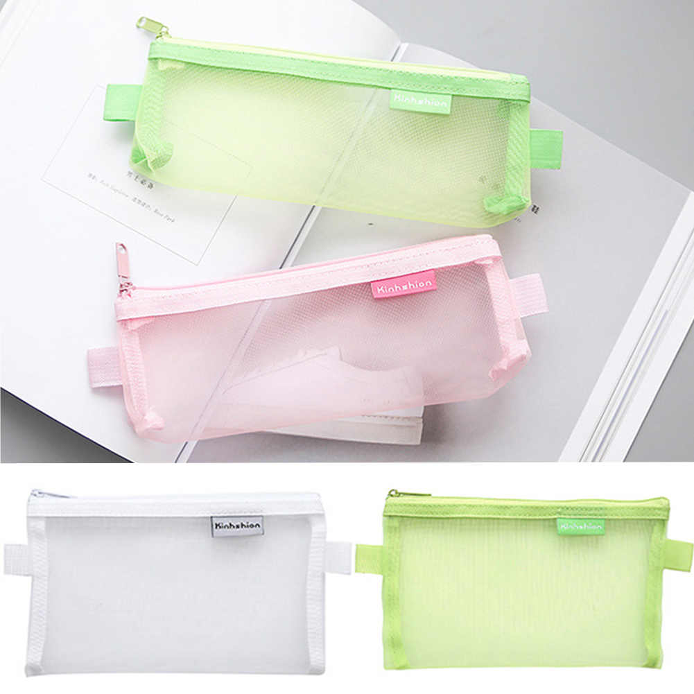 Clear See Through Exam Pencil Case Transparent Zip Fastening 20.5*9cm/19.8*12cm