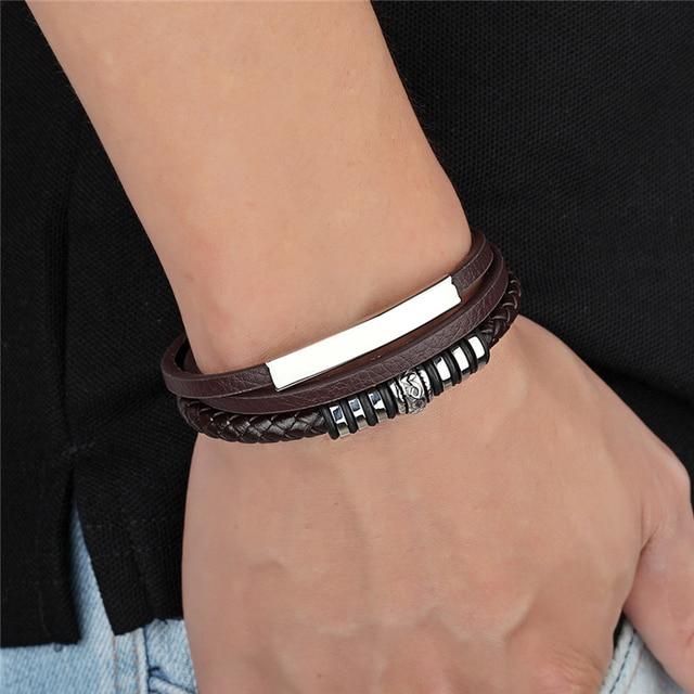 мужской многослойный кожаный браслет с магнитной пряжкой из фотография
