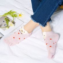 Lovely Bear Sokker Hosiery Socks Cotton Strumpor Casual Short Socks Ankle Women 5 Finger Socks