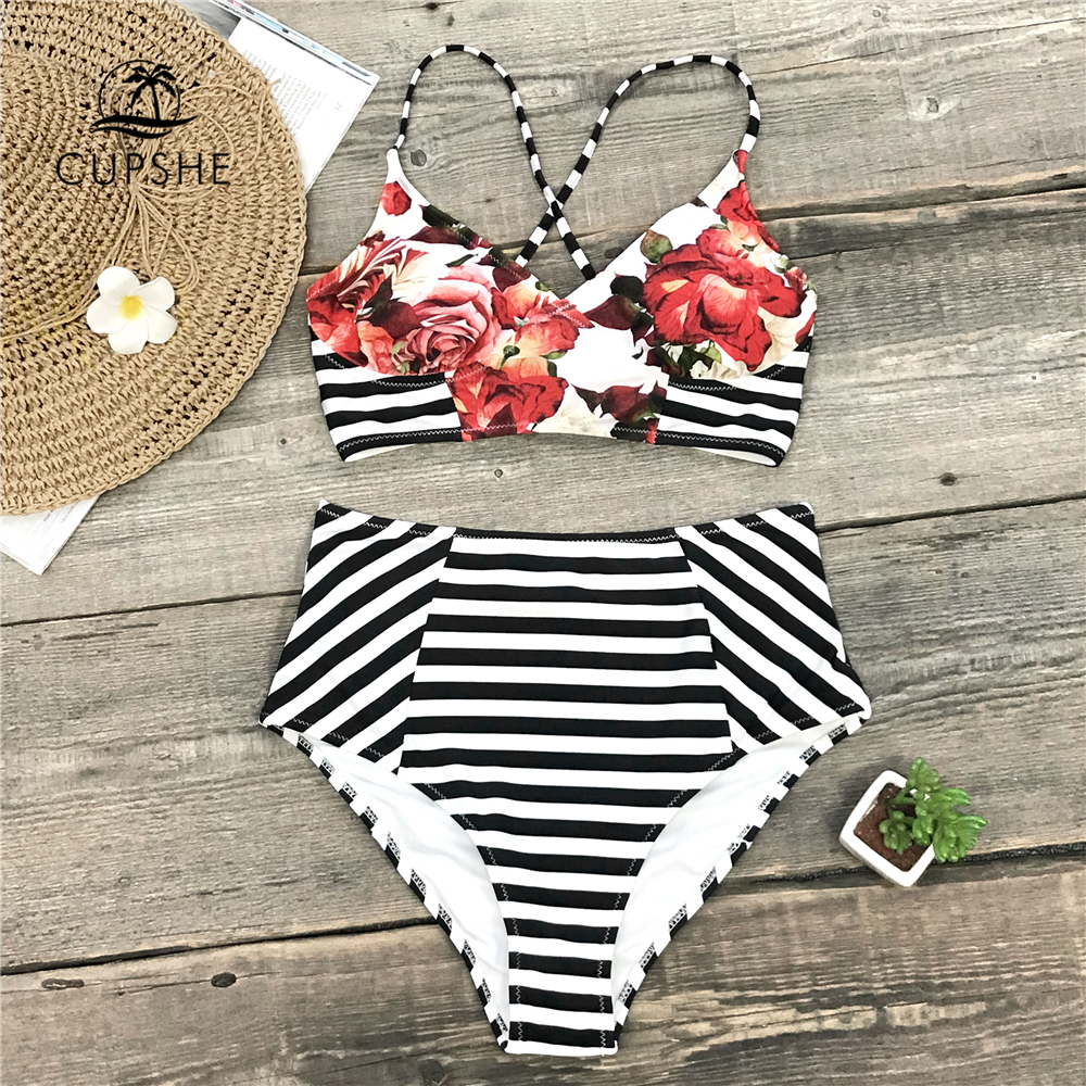 7c2b160c115fb Detail Feedback Questions about CUPSHE Floral And Stripe High Waist Bikini  Sets Women Lace Up Two Pieces Swimsuits 2019 Girl Sexy Beach Bathing Suit  ...