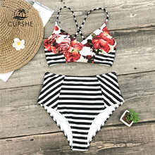 CUPSHE Floral And Stripe High Waist Bikini Sets Women Lace Up Two Pieces Swimsuits 2019 Girl Sexy Beach Bathing Suit Swimwear