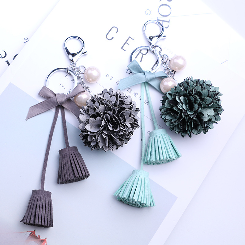 2019 NEW Fashion for Women Lace Flowers Tassel Key Chain Key Rings For Car Bags Accessories Pendants Keychain Jewelry Accessory