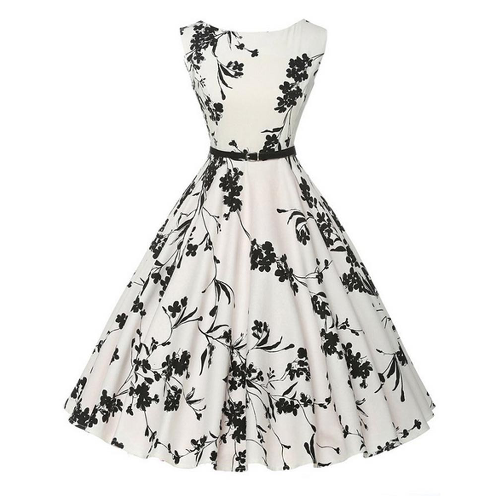 vintage style women dress floral bodycon sleeveless casual party prom swing dress vetement femme. Black Bedroom Furniture Sets. Home Design Ideas