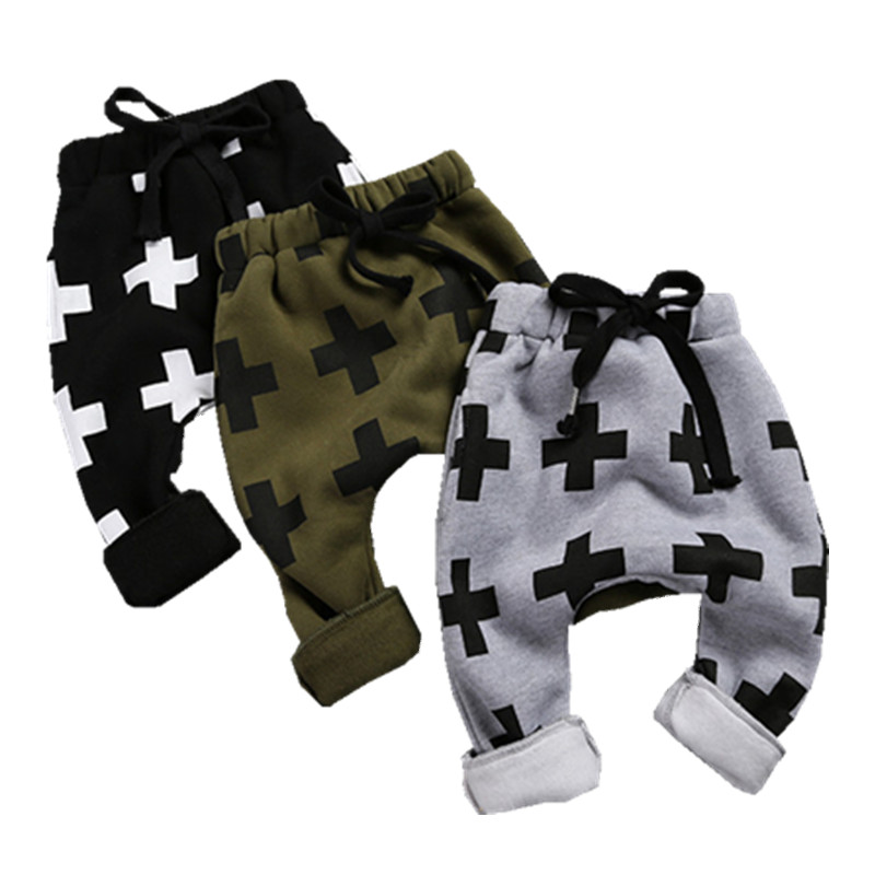Spring Cotton Baby Boy Clothes Cross Printed Trousers Autumn Unisex Loose Pants Baby Girl Clothes Children Casual Harem Pants(China)