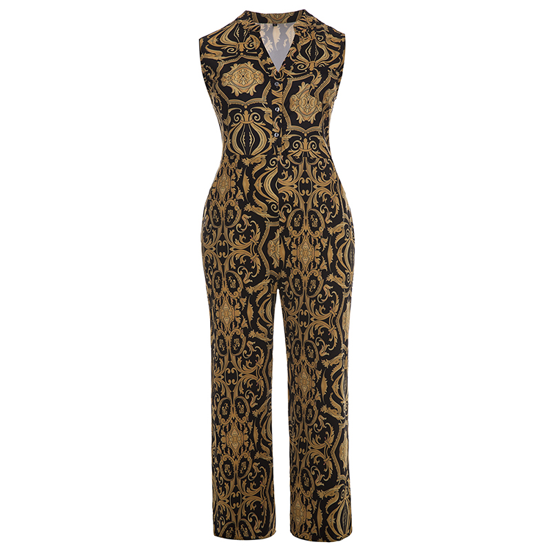 Plusee Jumpsuit Plus Size 4XL 5XL Women 2017 Golden Slim Wide Legs Geometric Color Block Button Pocket Print Plus Size Jumpsuit 4