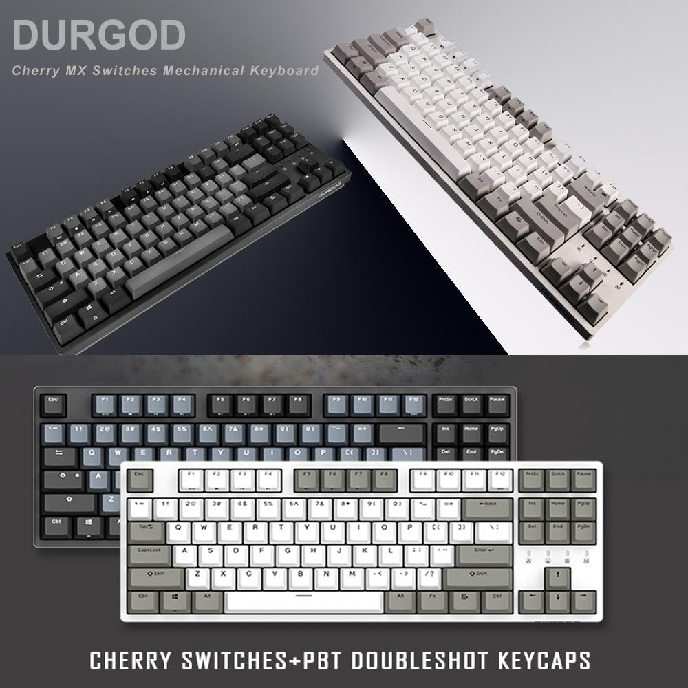 DURGOD 87-Chave Teclado Mecânico [Interruptores MX Cereja] NKRO Anti-ghosting Gaming Teclado para Gamer/ datilógrafo/Escritório-TECLADO QWERTY-Layout