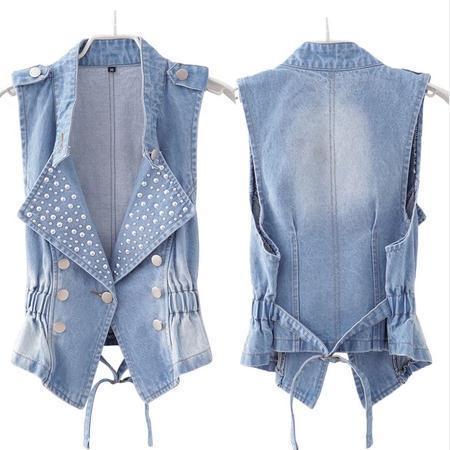 2016 new summer denim vest waistcoat Korean Slim thin Plus Size xxl  vest jacket for women