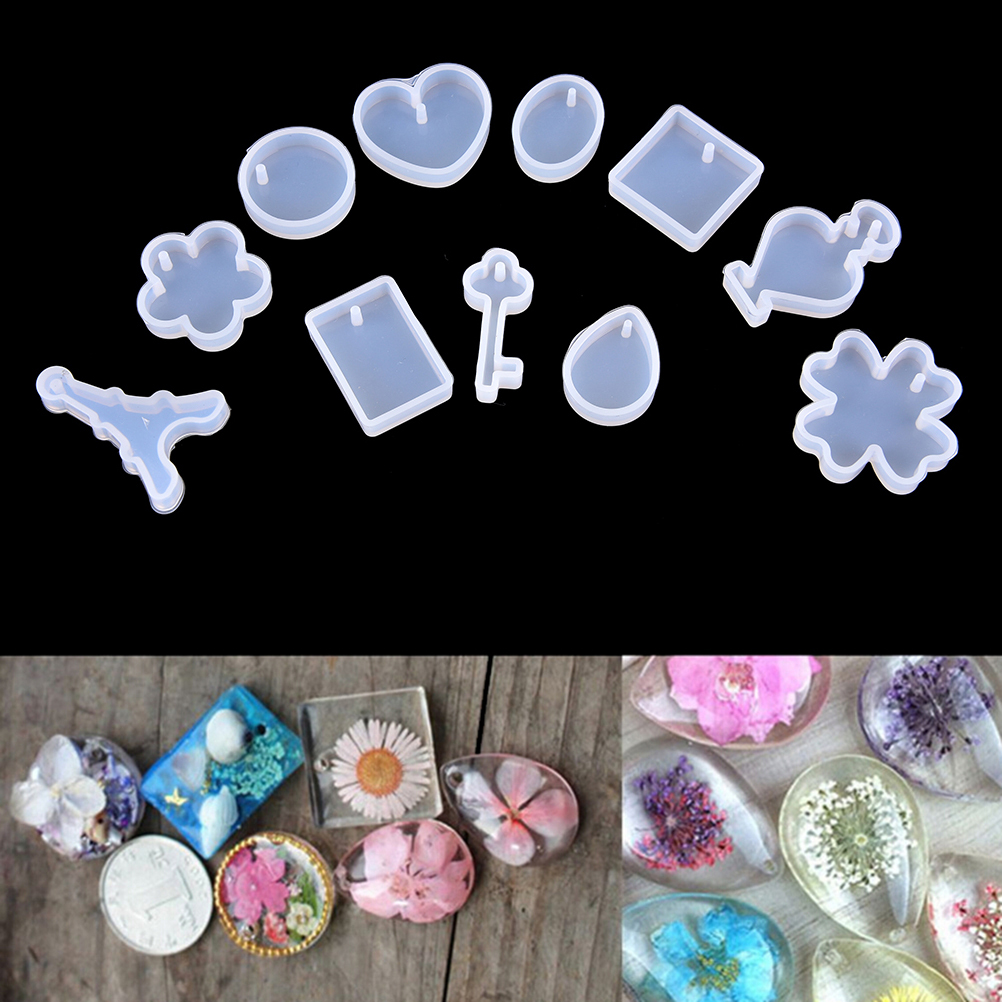 12pcs  DIY Silicone Mould Craft Molds For Resin Necklace Pendant Jewelry Making Tool