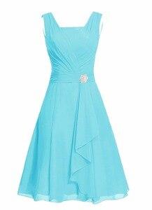 Image 4 - Waulizane 우아한 쉬폰 a 라인 댄스 파티 드레스 지퍼 민소매 공식 드레스 16 색상 사용 가능한 세관 만든 일반 슬리브
