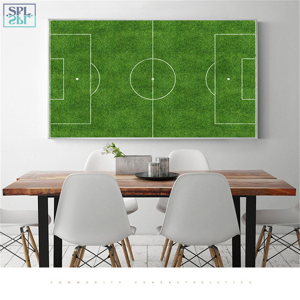 SPLSPL Frameless Modern Wall Decor Picture Football Field Sport Themed Canvas Wall Art Print Poster Paintings for Living Room