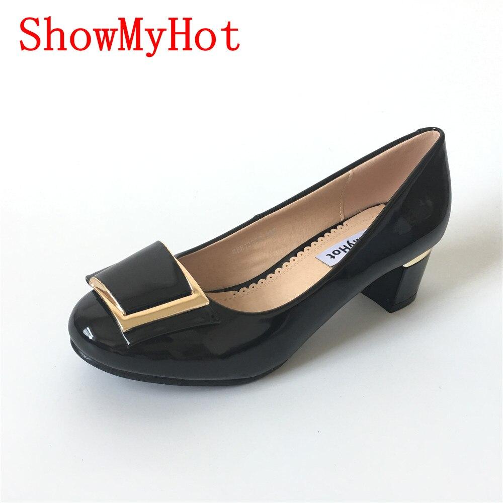 ShowMyHot woman Round Toe Basic Office Chunky High Heel Bow Shoes design female Pumps Brand Designer