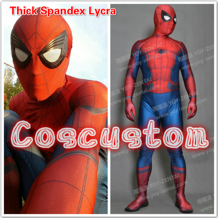 Coscustom High Quality thick spandex lycra Captain America Civil War Spider Man Costume With eyes Spiderman Suit Cosplay Costume