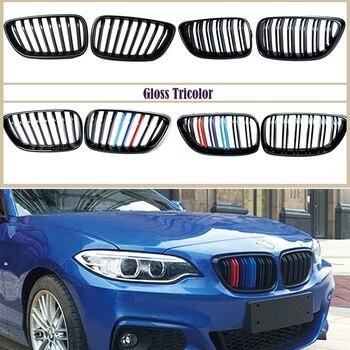 Karbon Fiber/Siyah Ön Tampon Yarış Izgaralar Böbrek Için BMW F22 F23 F87 Serisi 2 M2 220i 228i m235i M240i M Aksesuarları