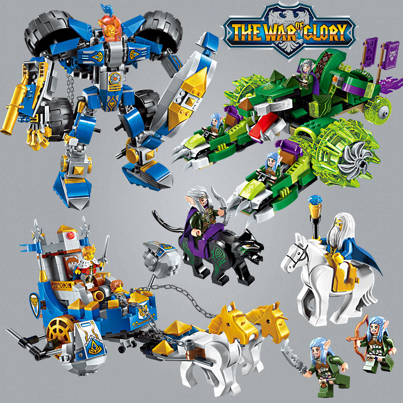 Enlighten Glory War Educational Building Blocks Toys For Children Gifts Castle Knight Heros Weapon Shell Compatible Legoe castle and knight