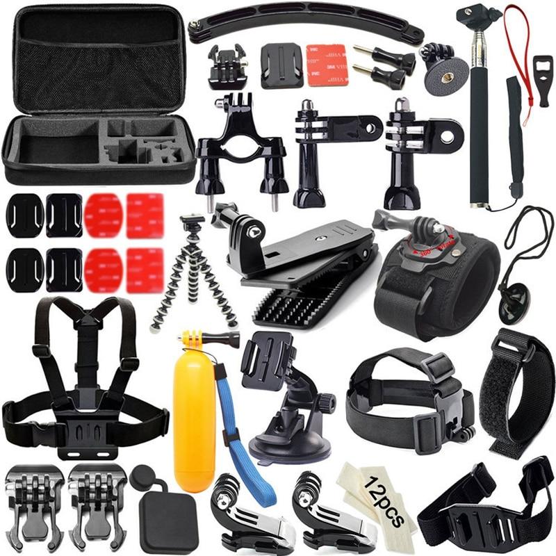 цена на 51 In 1 for Gopro Accessories Set Go Pro Hero 5 4 3 2 Kit Mount Chest Head Strap Selfie Stick for Go Pro SJCAM SJ4000 for Xiaoyi