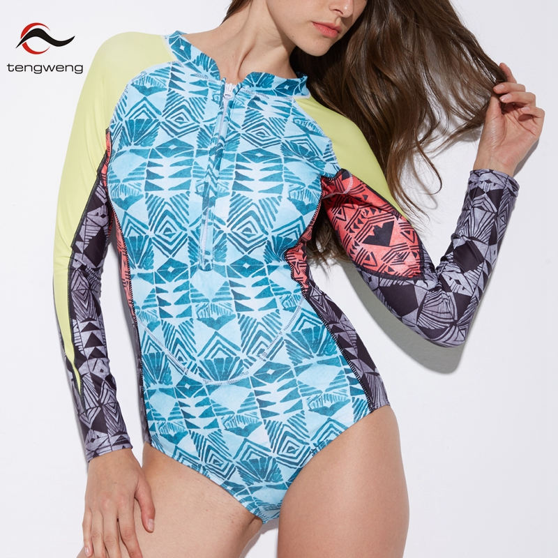 Amicable Tengweng 2019 Sexy Long Sleeves Plus Size One Piece Swimsuit Surf Blue Print Push Up Women Swimwear Padded Brazilian Monokini Good Reputation Over The World Water Sports