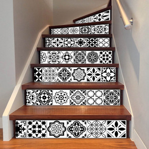 Image 3 - 6PCS White Black Tiles Stairs Stickers Home Decal Staircase Stair Floor Sticker DIY Wall Floor Decal Stair Decal Decoration