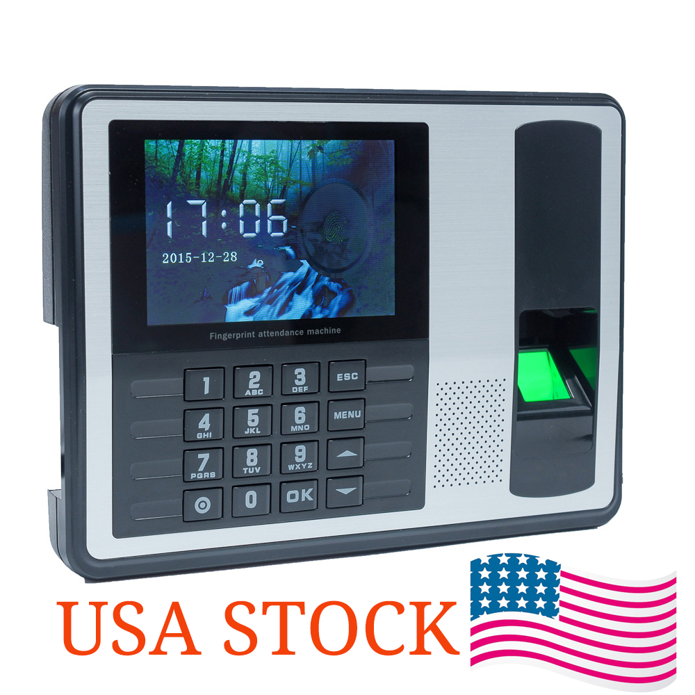 "Фотография Biometric Fingerprint Password Attendance Machine Employee Checking-in Recorder 4"" in TFT LCD Screen DC 5V Time Attendance Clock"
