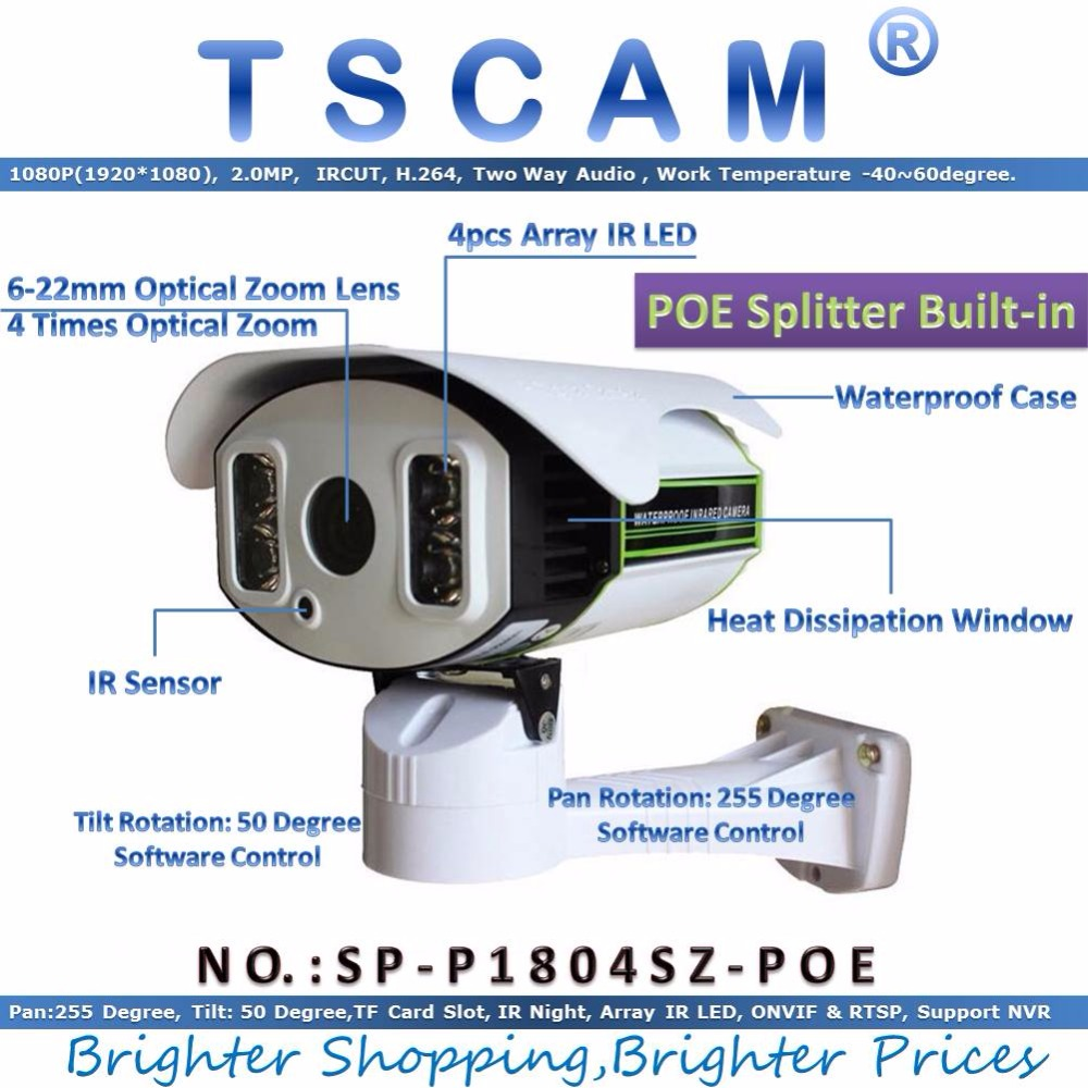 TSCAM new SP P1804SZ POE 1080P 2 0MP IP Camera PTZ 6 22mm Zoom with POE
