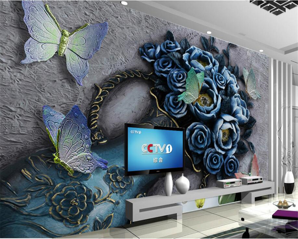 Beibehang Custom Photo Wall Mural 3d Wallpaper Luxury: Beibehang Custom 3D Photo Wallpaper Flowers Butterfly Vase