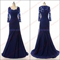 Real Photo Elegante Azul Marinho Sereia Applique Chiffon manga Comprida 1271 P 2017 novo da mãe do vestido da noiva formal