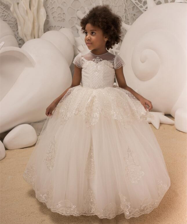 New Flower Girl Dress Ivory Crew Neck Ankle Length Buttons Short Sleeves Patchwork Long First Communion Dresses