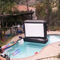 2.4*1.8m  4:3 front rear projection air screen,airtight inflatable water floating  movie screen
