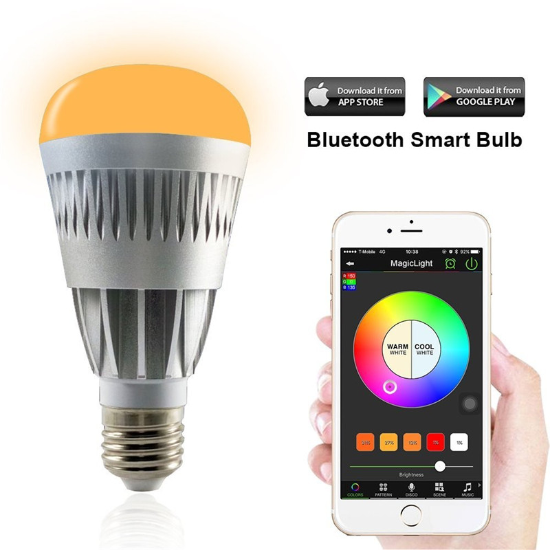 Ampoule magique E27 Pro Wifi Bluetooth contrôle de téléphone intelligent réveil réglable luminosité multicolore LED lumière économiseuse d'énergie