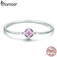 BAMOER Authentic 925 Sterling Silver Spring Cherry Flower Square Clasp Snake Chain Bracelet Sterling Silver Jewelry