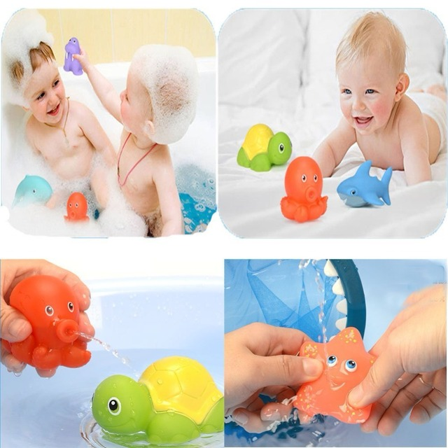Shark fishing Bath Toy with Fishing Net Floating Animals Water Toy Baby Bathroom Pool Accessory for Kids 12 Months + 4