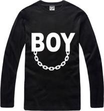 New Men's long sleeve T shirt Slim BIGBANG Boy Chain Cotton Top Casual Hooded Fashion