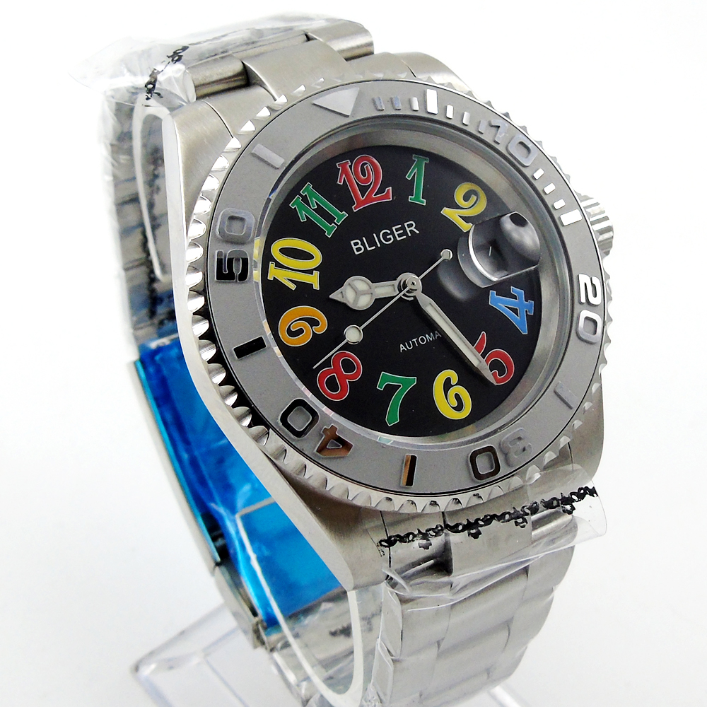 лучшая цена 40mm Automatic Bliger black dial Sapphire Glass Ceramics Bezel Men's Watch