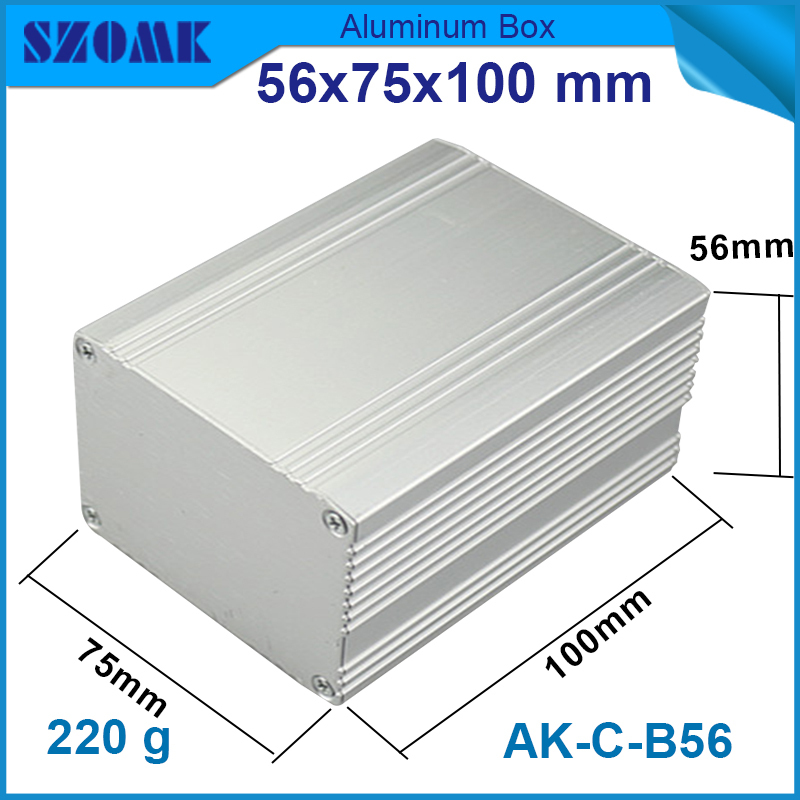 1 piece aluminum case box 56x75x100 mm in silver color ip54 aluminium enclosure box for pcb box can be cut length image