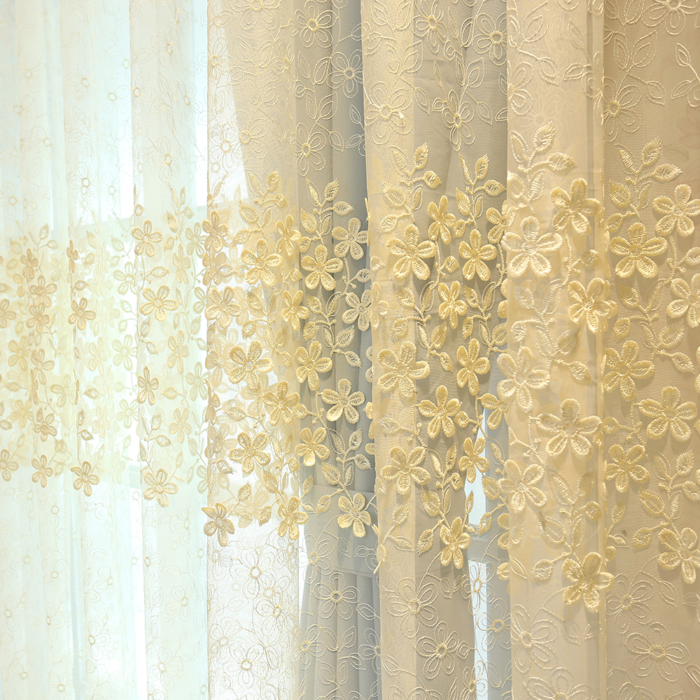 Jacquad Tulle Curtains White Embroidery Yarn Curtain