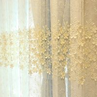 Jacquad tulle curtains white embroidery yarn curtain flowers embossed elegant balcony sheer Customizable shade curtains living