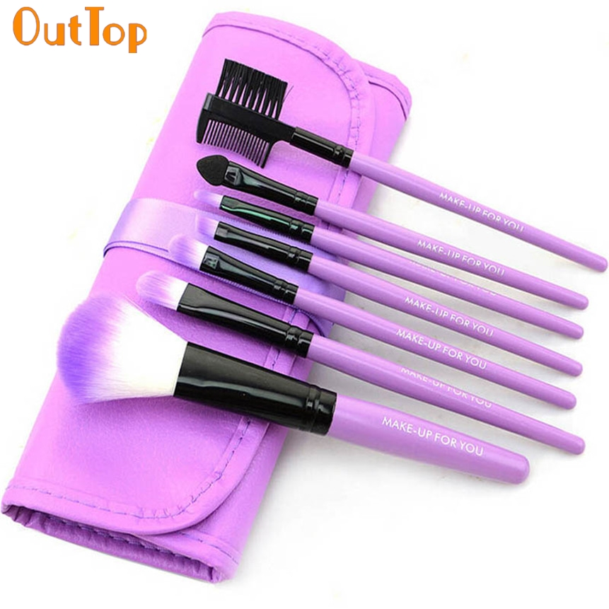 OutTop 7pcs/Set Makeup Brushes Fashion Purple Wood Make-up Brush Cosmetic Tools Beauty+Bag Makeup Garden May31 Drop Shipping hot sale 2016 soft beauty woolen 24 pcs cosmetic kit makeup brush set tools make up make up brush with case drop shipping 31