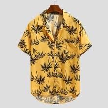 Повседневная мужская рубашка, летняя гавайская рубашка с коротким рукавом и принтом, Повседневная Свободная пляжная рубашка на пуговицах, мужская блуза, мужская рубашка
