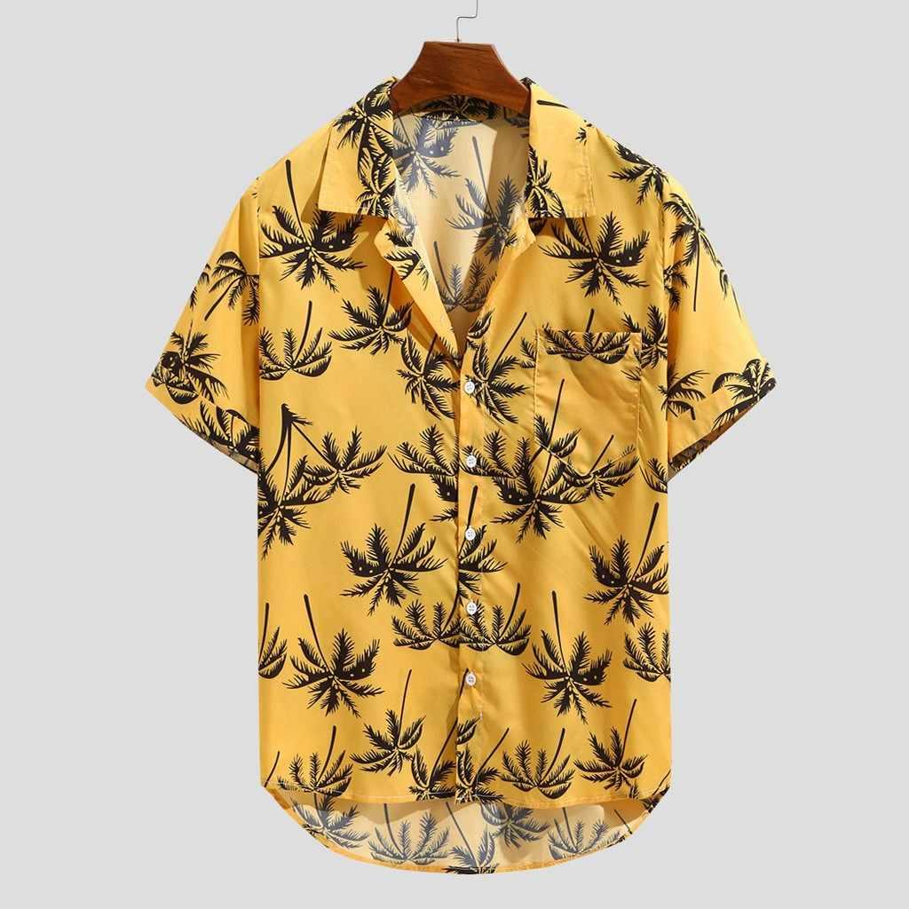 カジュアルメンズシャツ夏ハワイアンプリント半袖シャツカジュアルルースビーチウェアボタン男性ブラウストップス camisas やつ