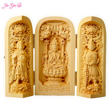 JIA-GUI LUO Boxwood carving home desktop decoration statue carrying box birthday gift Chinese Buddha A026