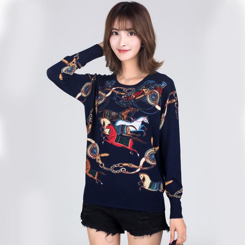 Winter Runway Sweater Women Luxury Brand Design Elegant Long sleeve Loose Printed Sweater Knitted Pullovers Tops Feminino New