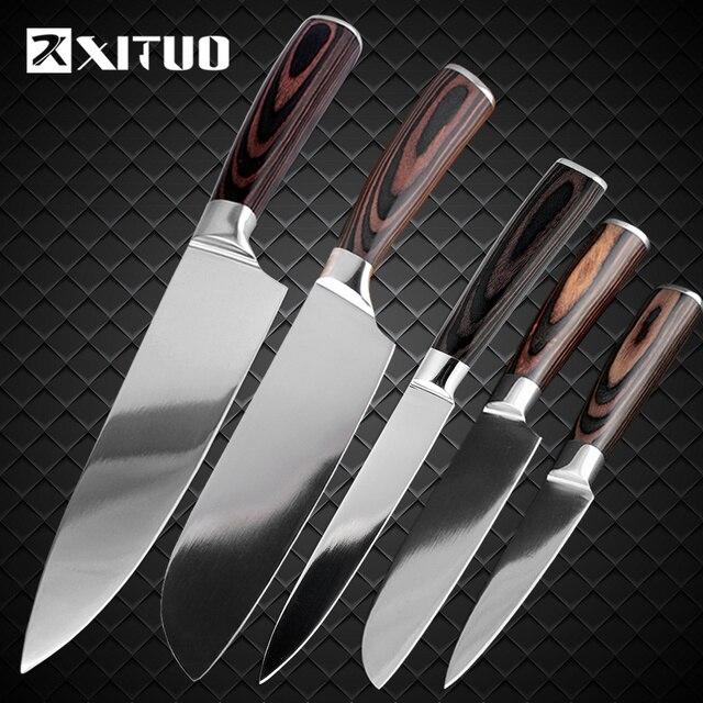 Xituo 5 Stucke Kuche Messer Set Japanische Santoku Edelstahl