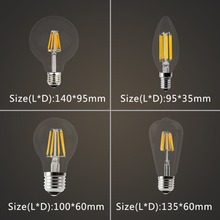 LED Candle Bulb E14 Vintage Filament Light Bulb E27 LED Edison Globe Lamp 220V Glass 2W 4W 6W 8W Replace Incandescent dimmable