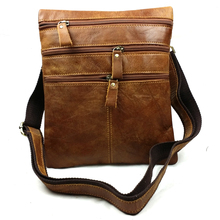 2017 Real Leather Men's Casual Small Crossbody Bags Waist Packs Belt Bag Vintage Shoulder Bags for Male Zipper Cowhide Bag 8622
