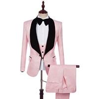 2018 New Arrival Men Suits Ling Pink jacquard Groom Tuxedos Shawl Lapel Men Suits Wedding Best Man Blazer (Jacket+Pants+vestC690