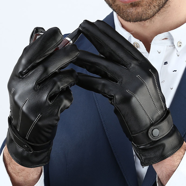 Men's Classic Black Winter Gloves Natural Leather Sensory Tactical Warm Mittens Sport Driving Touch Screen Gloves Male G523