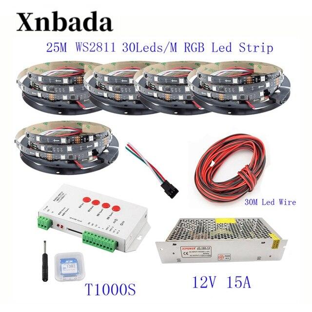 25 M 20 M 15 M 10 M 5 M WS2811 bande de LED WS2811 IC 30 LED s/M RGB bande de pixels intelligents + T1000S LED de contrôle + 12 V alimentation en alimentation LED