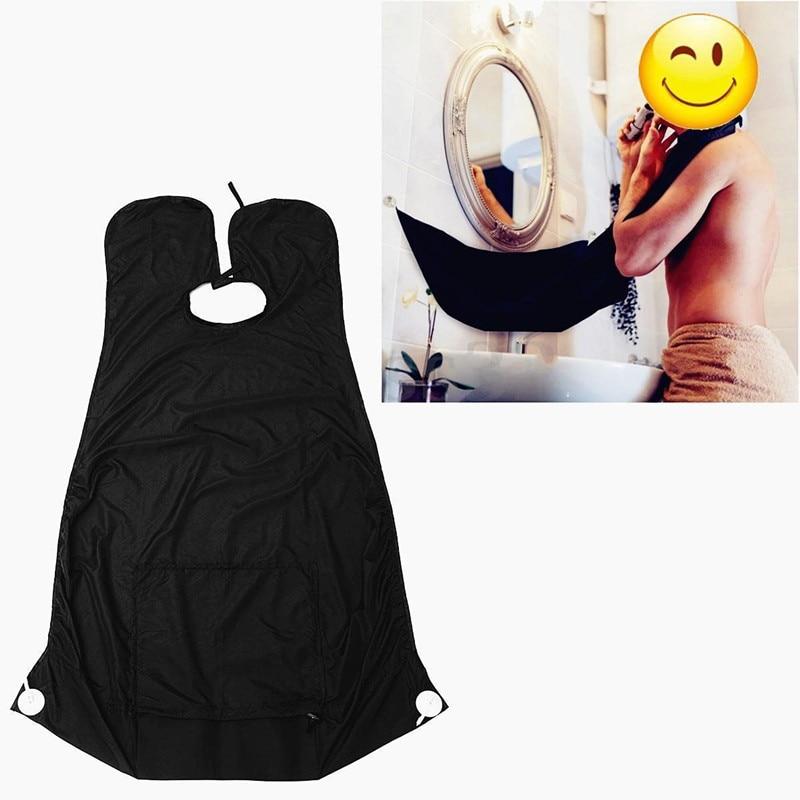 "Beducht Unise Vrouwen Mannen Top Blouse Cover Up 51.2x32.3 ""pongee Baard Care Scheren Schort Bib Tippet Trimmer Facial Haar Cape Sink Black"