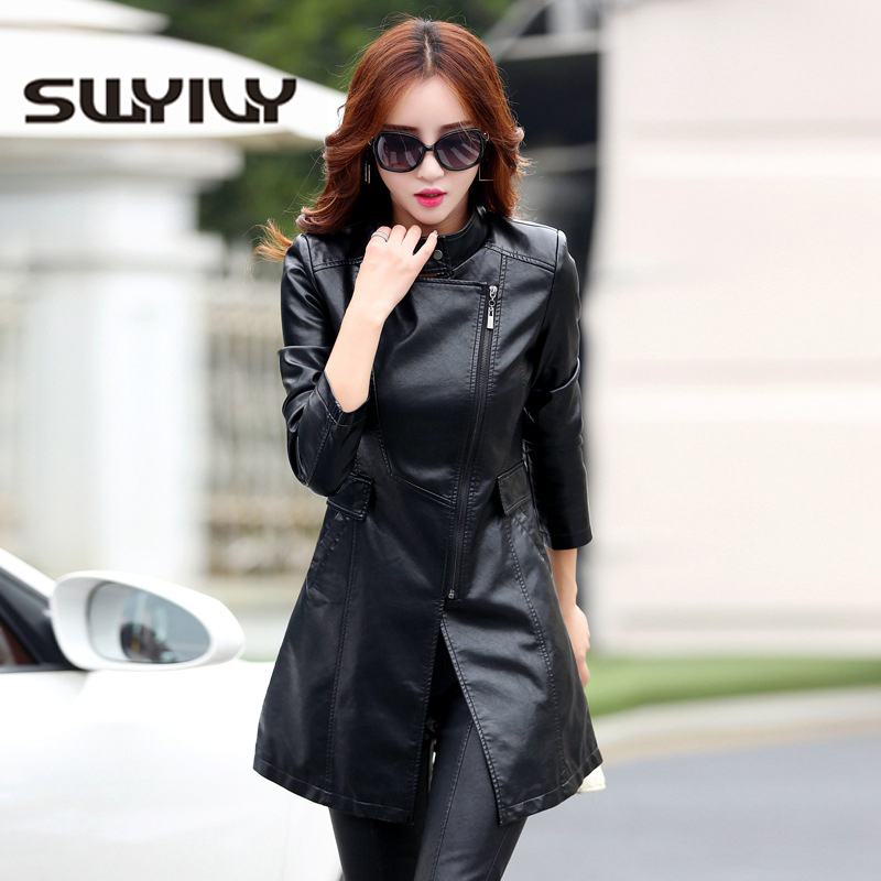 SWYIVY Faux   Leather   Women Jackets Coat 2018 New Autumn Winter Female Fashion Simple Slim Coats Medium Long Style Women Coat 5XL