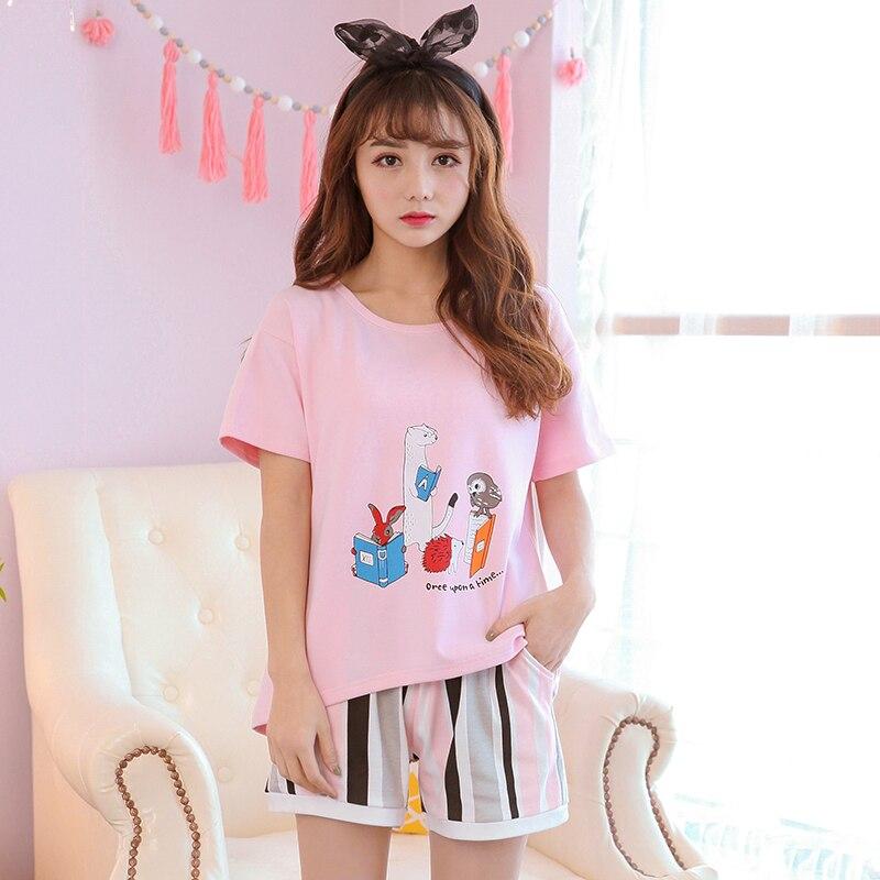 Sleepwear women Plus Size XXL 2018 summer pajamas sets O-neck soft cotton short sleeve pajama suit sweet lady homewear suit